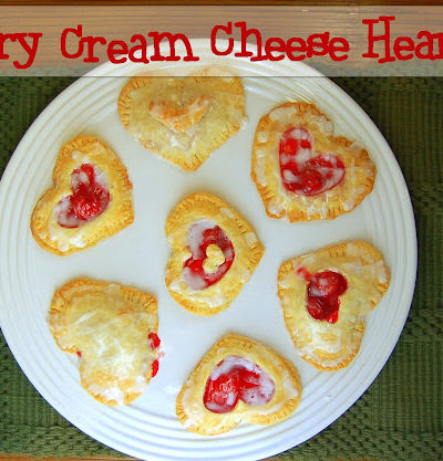 Cherry and Cream Cheese Heart Pastry