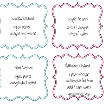 Recipes & Labels For Your Homemade Cleaning Products