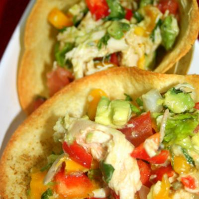 Kid Friendly Around the World Recipe: Tortilla Bowls with Mango Chicken Salad