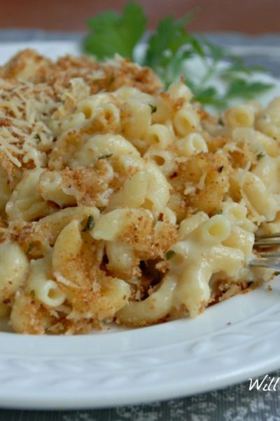 Light White Baked Mac-n-Cheese