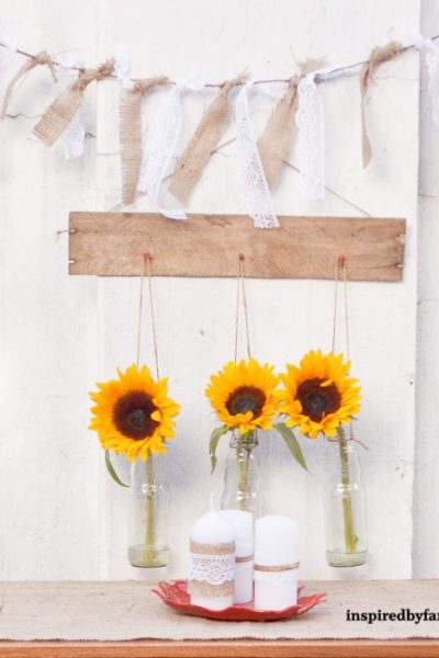 Pallet Wall Decor- Hanging Vases