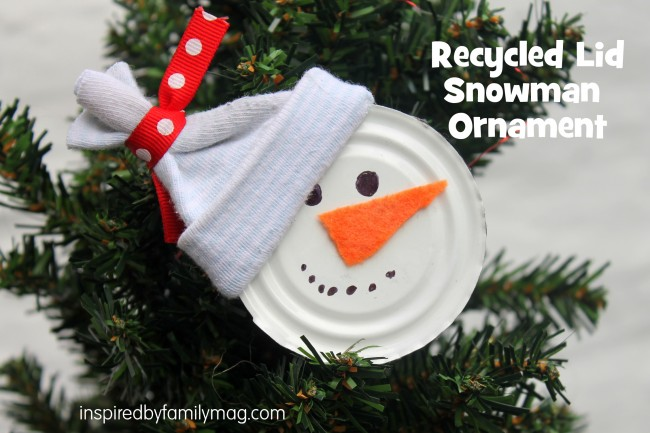 recycled christmas ornament craft  snowman