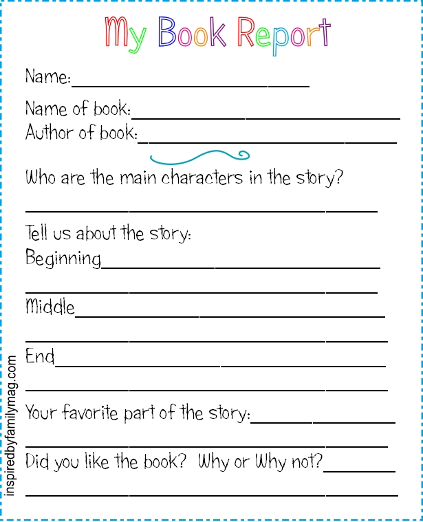 Elementary book report worksheet