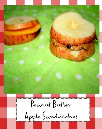 Apple Sandwiches with Peanut Butter and Cheddar
