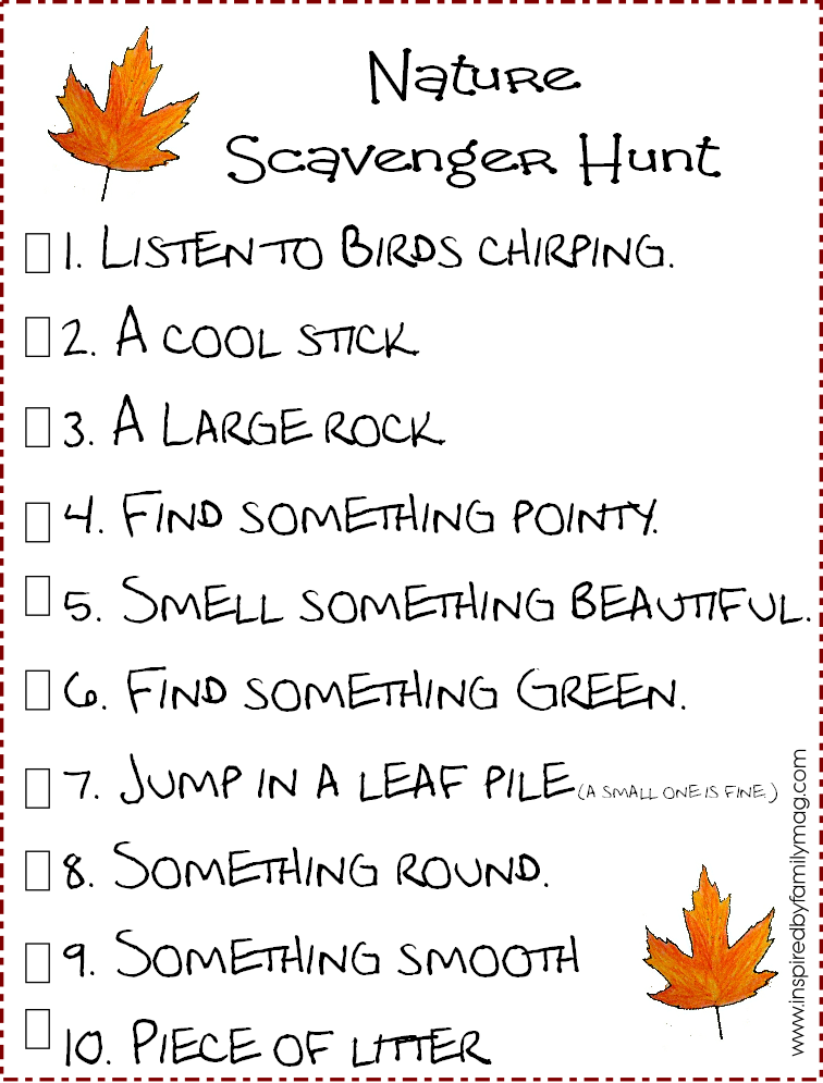 nature scavenger hunt printable