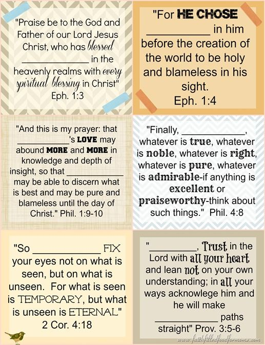 printable bible verse cards to pray