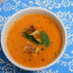Creamy Roasted Tomato Soup & Grilled Cheese Croutons