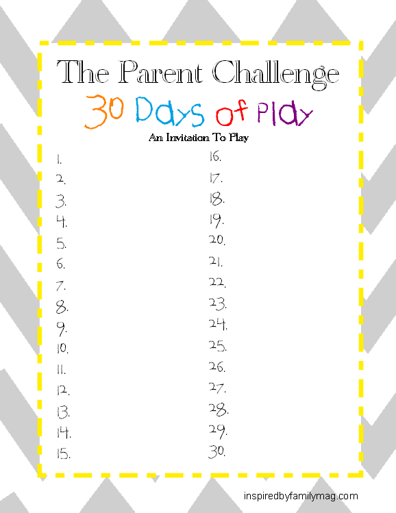 30 days of play activities list