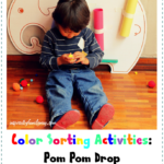 Color Sorting Activity: Pom Pom Drop (Gross, Fine Motor, Bilingual Skills)
