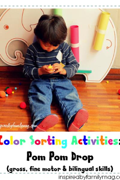 Color Sorting Activity: Pom Pom Drop (Gross, Fine Motor, Bilingual Skills)