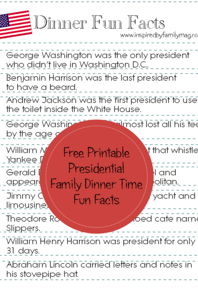 Presidential Family Dinner Fun Facts {Free Printable}