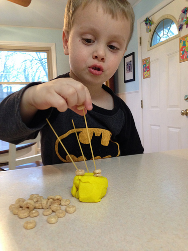 cheerios and playdough