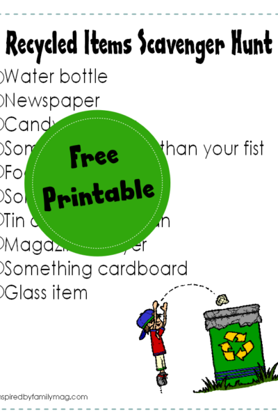 Recycled Items Scavenger Hunt Printable