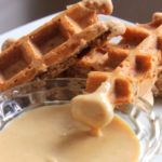 Healthy Chocolate Belgian Waffle Sticks with Peanut Butter Sauce