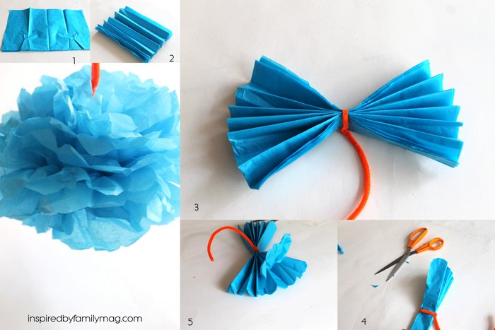 make flowers out of tissue paper