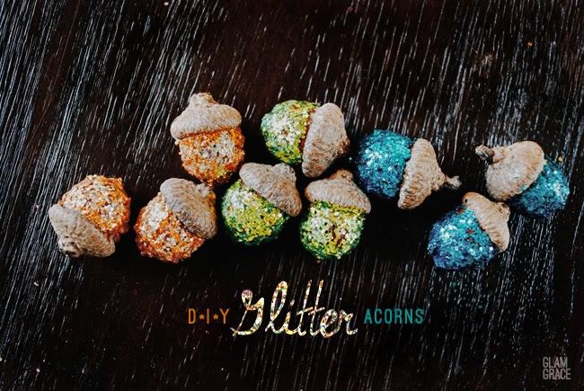 glitter acorn craft