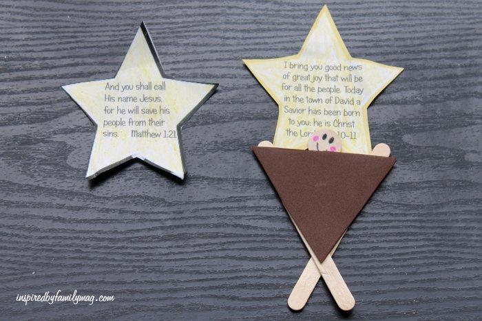 Manger craft for kids inspired by mortimer 39 s christmas manger for Popsicle stick star ornament