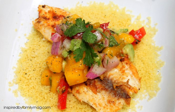 Grilled Tilapia with Mango Avocado Salsa - Inspired by Familia