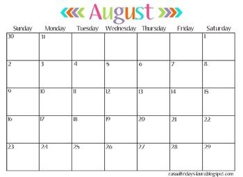 Colored Text Calendar – This one is horizontal and the months text ...