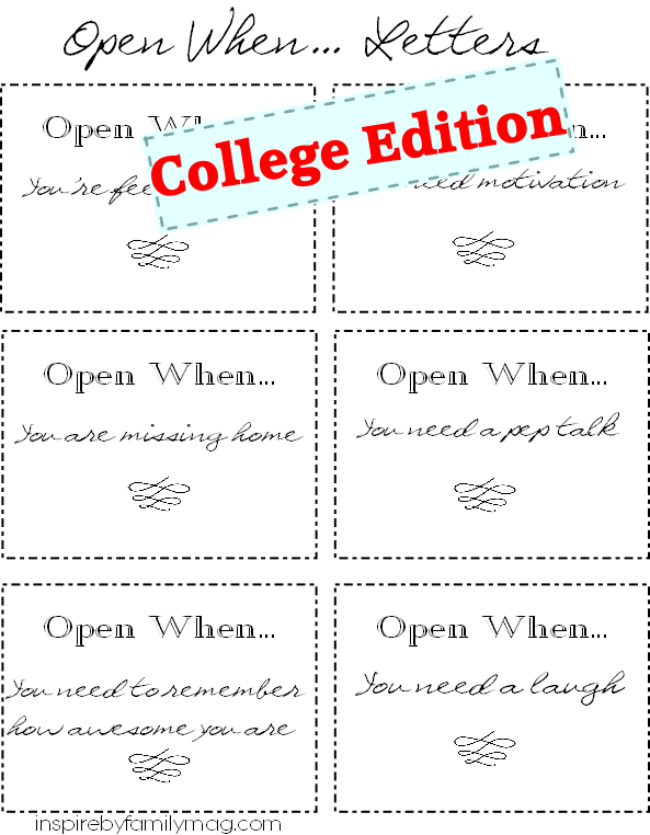 you can print off your own set just click hereopen when letters college student gift