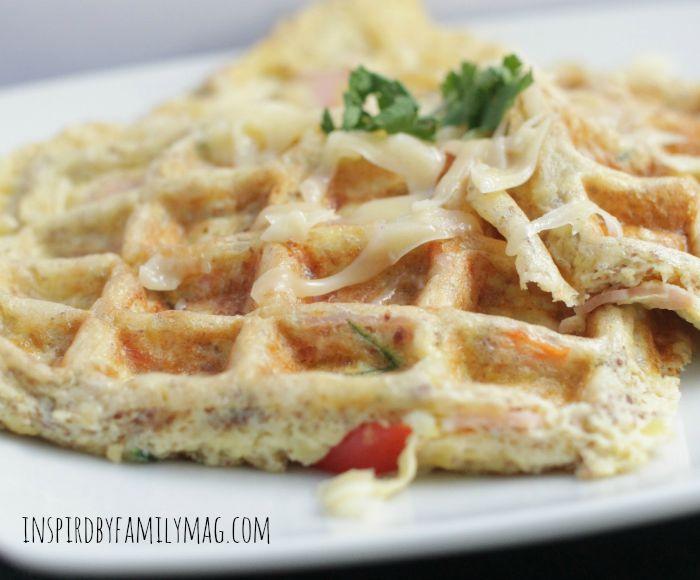 eggs on waffle iron