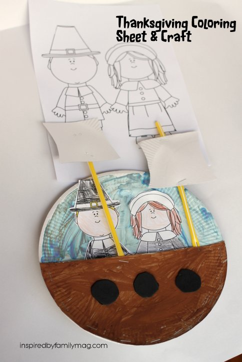 Thanksgiving Coloring Page And Mayflower Ship Craft