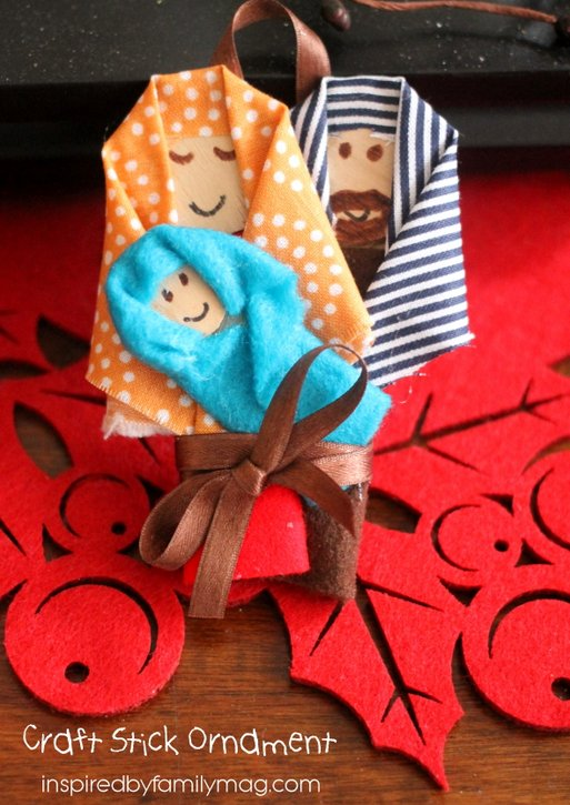 Christmas nativity craft stick ornament for Nativity crafts to make