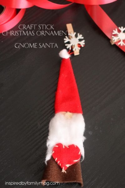 Craft Sticks Gnome Santa Ornament