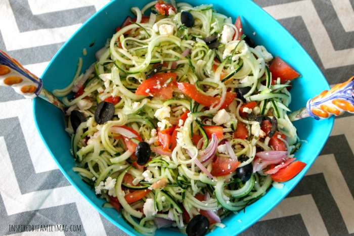 spiraled greek salad