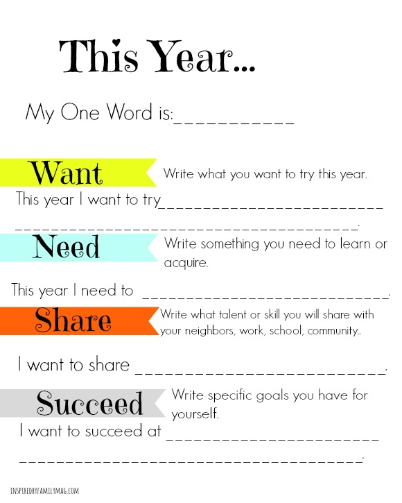 Family Activity Simple New Year's Goals