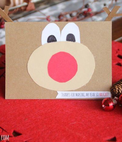 Simple and Cute Kid Handmade Christmas Card: Rudolph the Reindeer