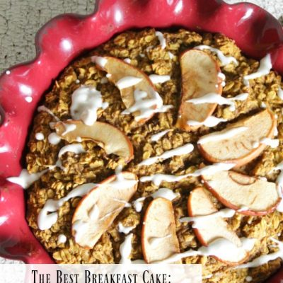The Best Breakfast Cake: Pumpkin Oatmeal Bake with Maple Cream Cheese Glaze